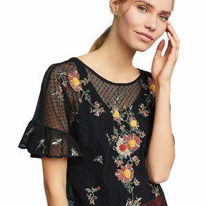 "Maeve ""Cadiz"" Sheer Embroidered Blouse"